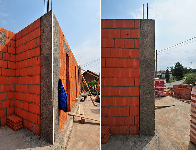 Insulation of a concrete vertical pole at the corner of 2 POROTHERM 38 walls