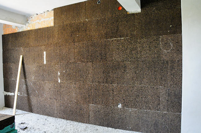 wall covered with industrial cork board 2cm almost finished