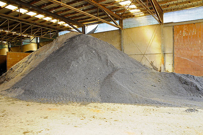 Paper sludge stored before processing