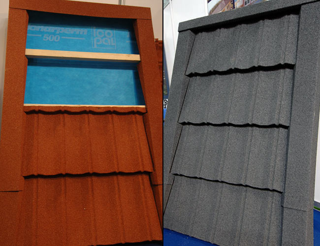 Octava roof grey and red with Monarperm 500 underlay