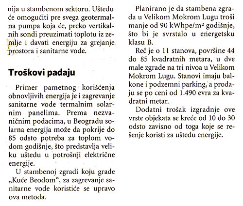 "Biznis: ""Apartments saving energy are emerging in Belgrade"" 03"