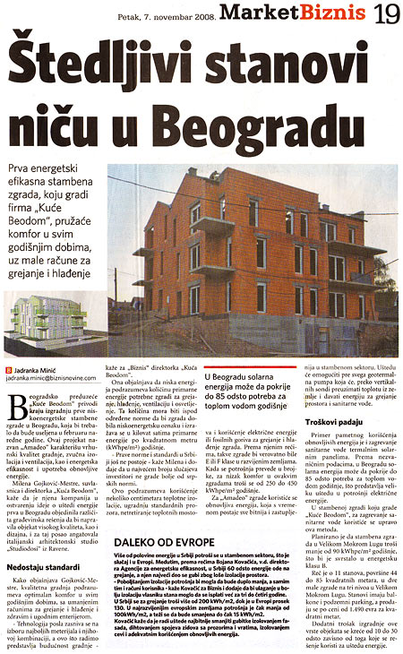 "Biznis: ""Apartments saving energy are emerging in Belgrade"""