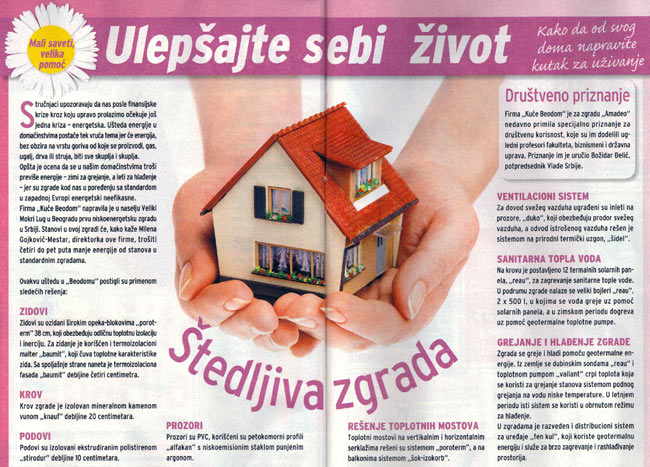 "Blic Žena: ""Building that saves energy"""