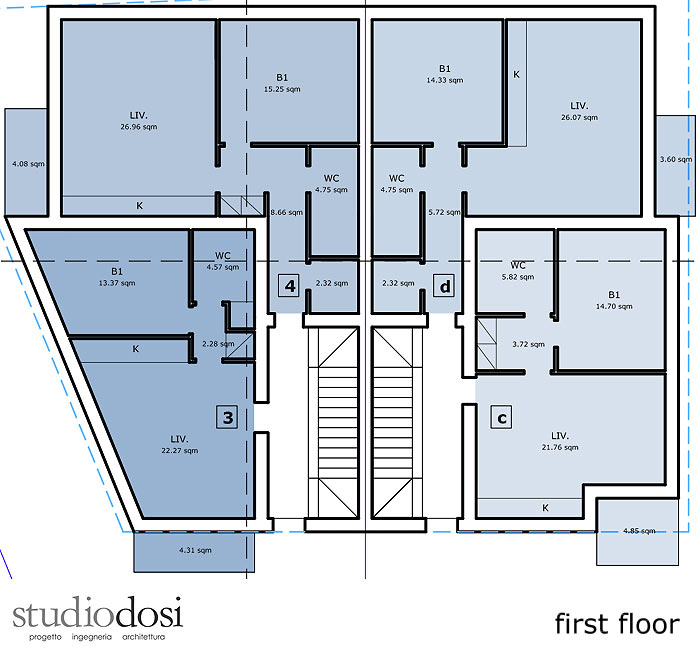 First floor: 4 apartments from 47 to 62 sqm (including balconies)